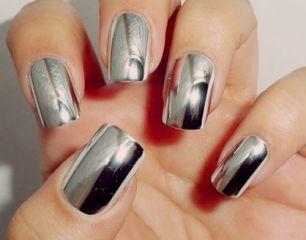 Накладные ногти. Серебро