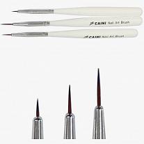 Кисти для художественного дизайна ногтей, набор 3 штуки.