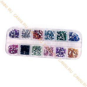Стразы для ногтей Case. 12 цветов, 1,5 мм.
