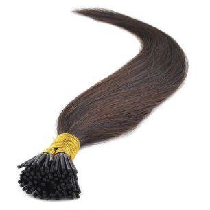Натуральные волосы на кератиновой капсуле I-тип, №002 Темно-коричневый - 55 см, 100 капсул.